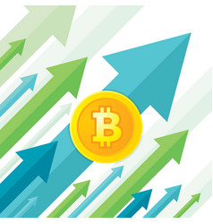 Bitcoin growth up trend - creative concept vector