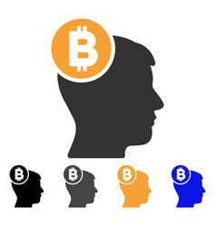 bitcoin mind head icon vector image