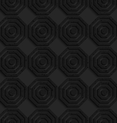 Black textured plastic simple striped hexagons in vector