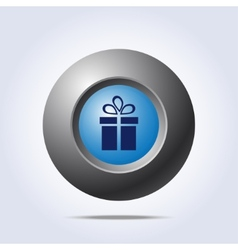 Blue button with present icon vector image