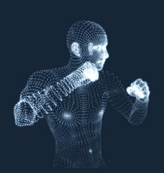 boxer fighting man 3d model of man vector image