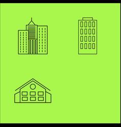 Buildings ans construction simple linear outline vector