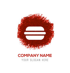 burger icon - red watercolor circle splash vector image