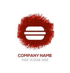 Burger icon - red watercolor circle splash vector