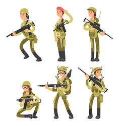 Cartoon characters female soldiers in various vector