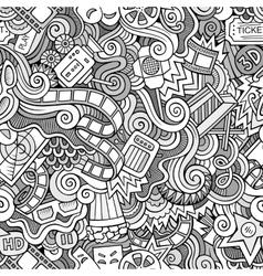 Cartoon doodles cinema seamless pattern vector image