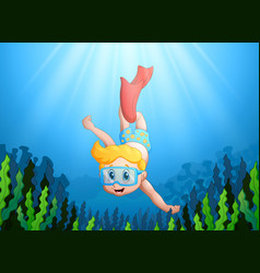 Cartoon kid diving underwater vector
