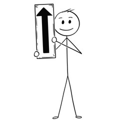 cartoon of businessman holding arrow sign vector image