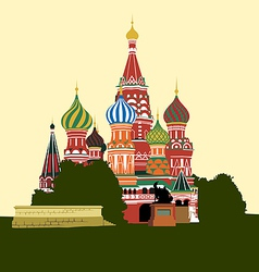 Cathedral on Red square vector image