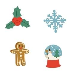 Christmas icons symbols set vector image