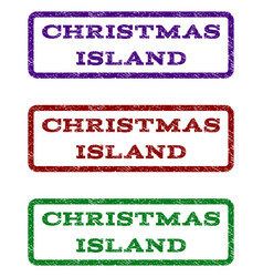 Christmas island watermark stamp vector