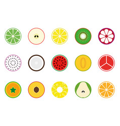 collection fruit icons vector image