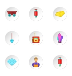 Colliery icons set cartoon style vector