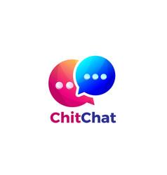 Colorful gradient double bubble chat logo design vector