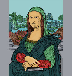 Colorful of leonardo da vincis painting mona lisa vector