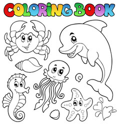 coloring book various sea animals 2 vector image