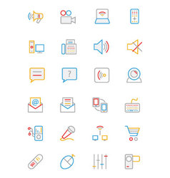 Communication Colored Outline Icons 3 vector image