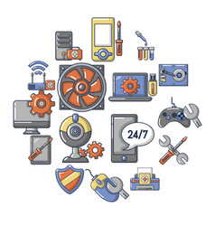 Computer repair service icons set cartoon style vector