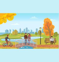couple standing on bridge biker and man vector image