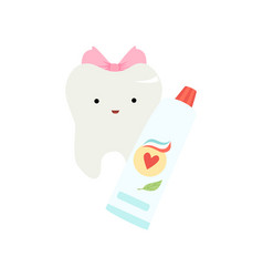 cute funny healthy tooth cartoon character with vector image
