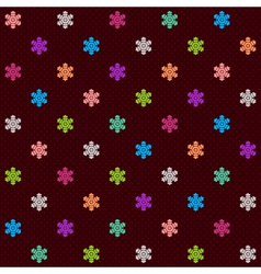 Dark seamless pattern with multicolor snowflakes vector image