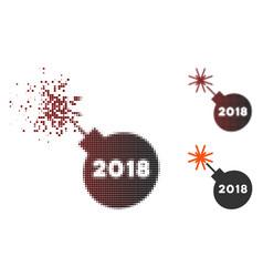Decomposed pixel halftone 2018 grenade icon vector