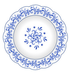 Decorative porcelain plate ornate with blue vector