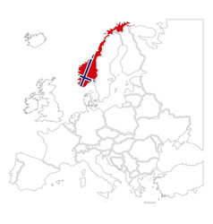 detailed norway silhouette with national flag on vector image