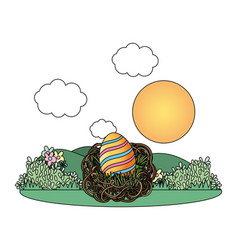easter eggs in a nest vector image