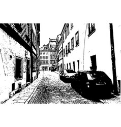 european city old town narrow street with parked vector image