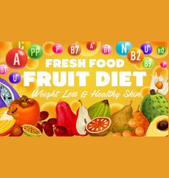 exotic fruit diet vitamins in tropical berries vector image
