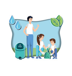 Family with waste garbage recycling in eco vector