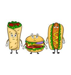 fast food bus cartoon pop art vector image