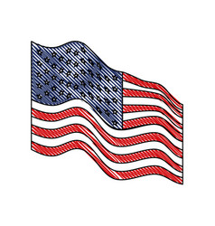 Flag united states of america waving side in vector