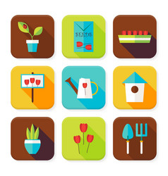 Flat gardening and flowers squared app icons set vector