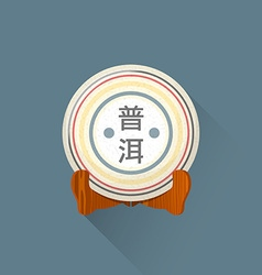 Flat puer tea on stand icon vector