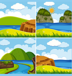 four scenes of river and lake at day time vector image