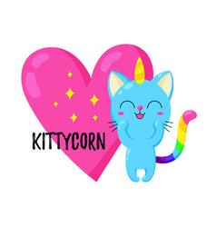 funny cartoon kitten unicorn vector image