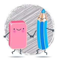 funny pencil and eraser against background of vector image