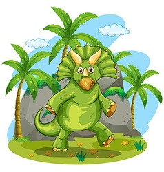Green dinosaur standing on two feet vector image