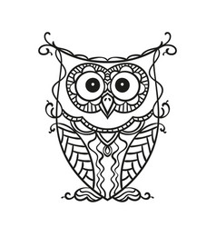 hand drawn owl for adult and children coloring vector image