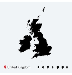 High detailed map of United Kingdom with vector image