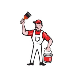 House Painter Holding Paint Can Paintbrush Cartoon vector