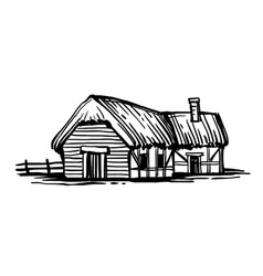 Ink sketch old european country house vector