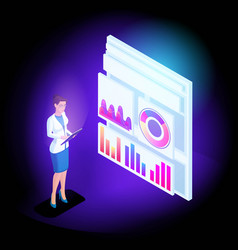 isometric business girl online scans reports and vector image