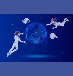 isometric global network planet earth astronauts vector image