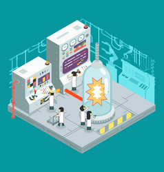 Isometric scientific laboratory experiment vector