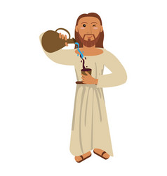 Jesus christ miracle water wine concept vector