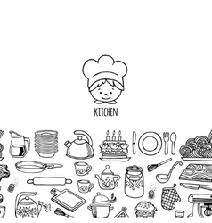 Kitchen utensils and appliance horizontal banner vector image vector image