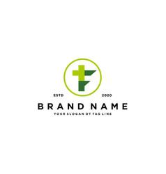 Letter f cross plus hospital medical logo design vector